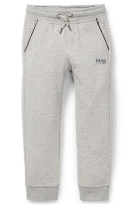Pantalon d'intérieur pour enfant en molleton de coton stretch, Gris chiné