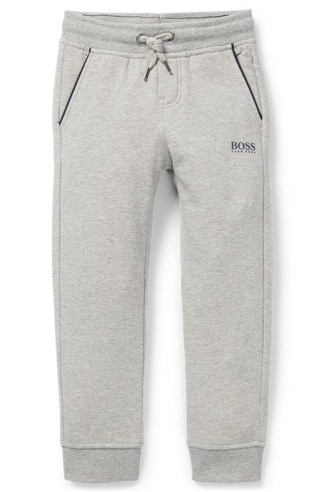 Pantaloni da bambino per il tempo libero in pile di cotone elasticizzato, Grigio chiaro