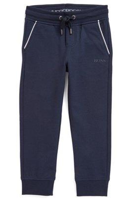 Pantalon d'intérieur pour enfant en molleton de coton stretch, Bleu foncé