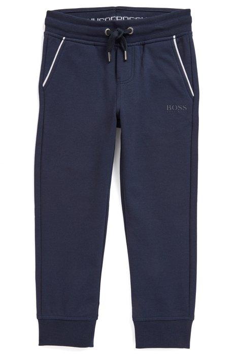 Pantaloni da bambino per il tempo libero in pile di cotone elasticizzato, Blu scuro