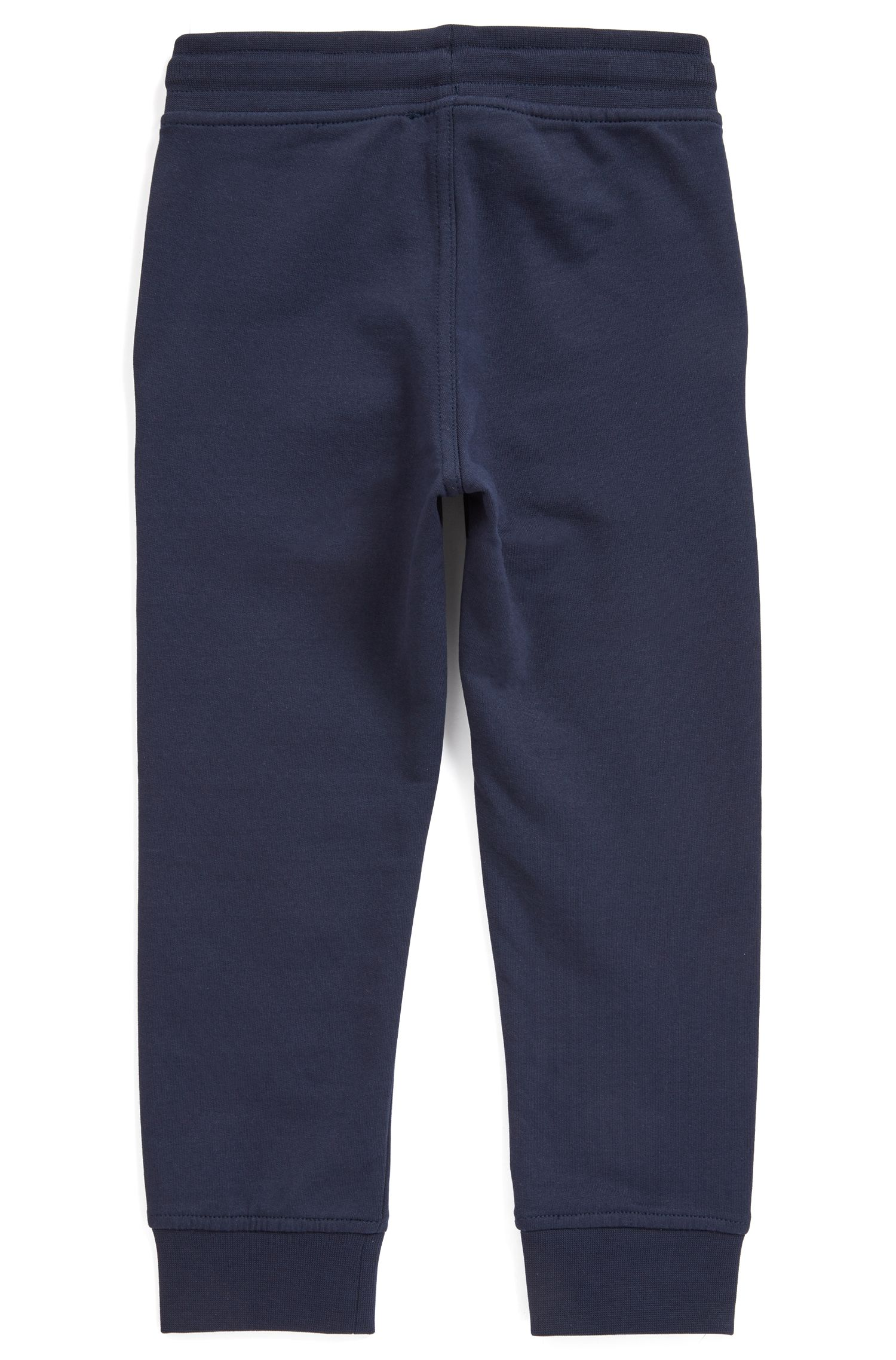 Kids' loungewear trousers in stretch-cotton fleece, Dark Blue