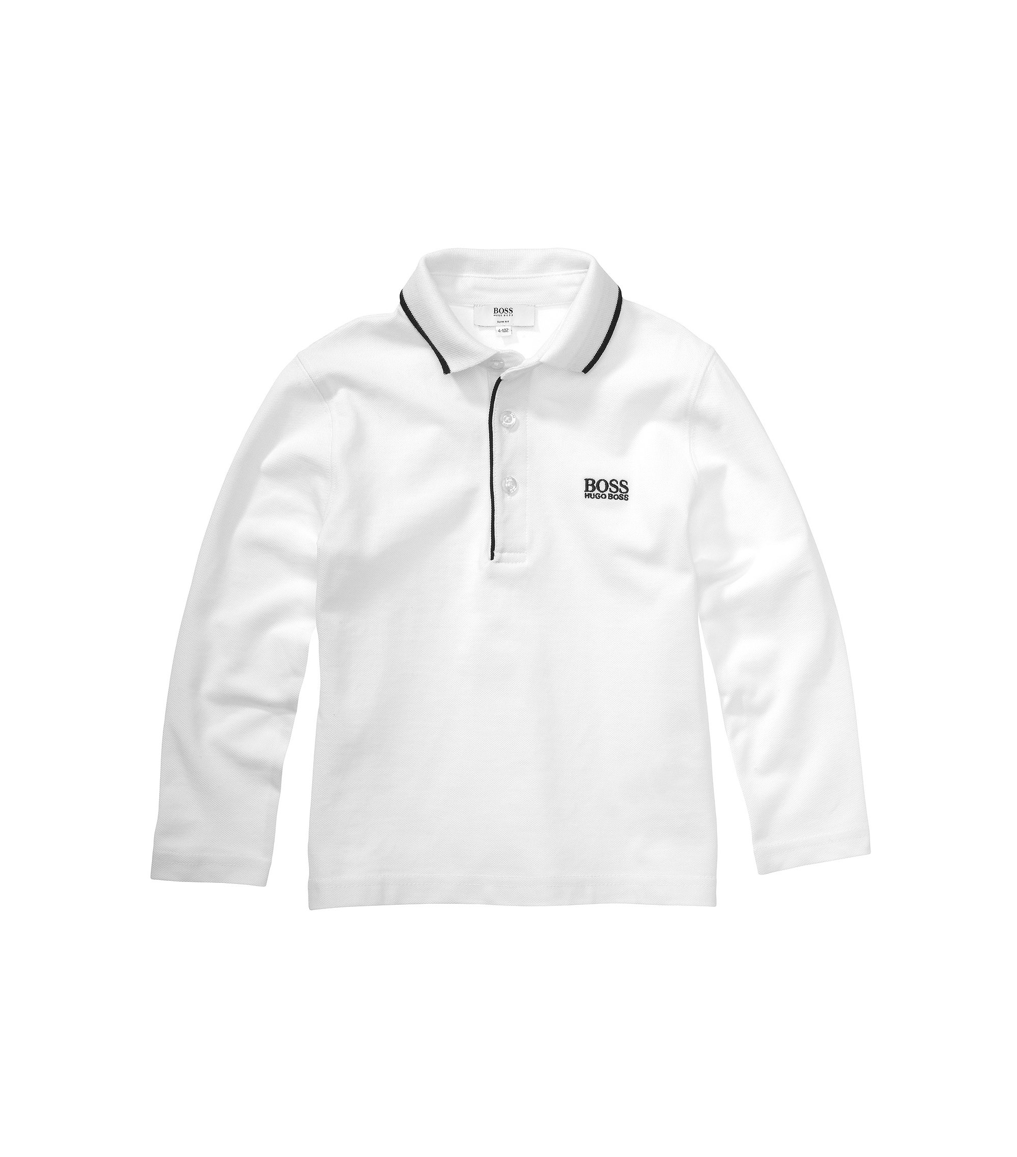 Kids-Longsleeve-Polo ´J25710` aus Baumwolle, Weiß