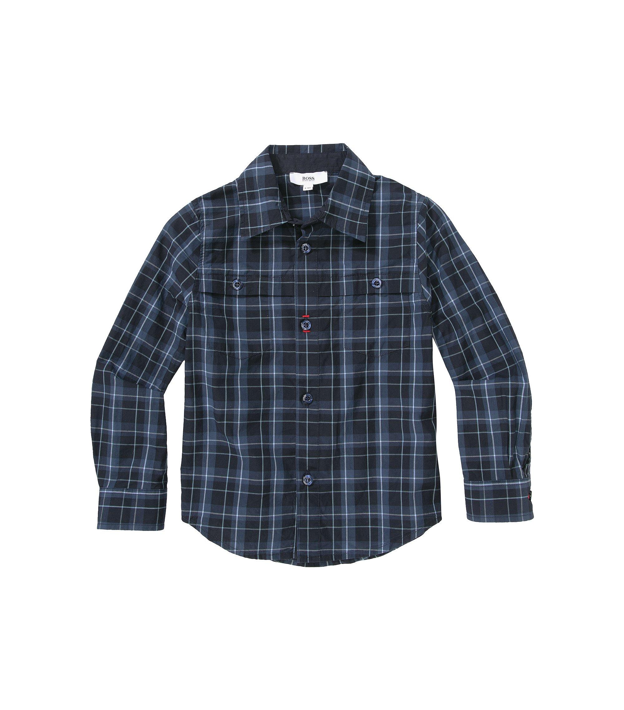 Kinderoverhemd 'J25729' van katoen, Donkerblauw