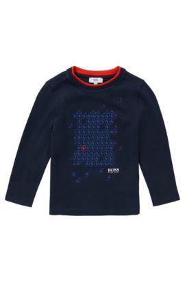 T-shirt à manches longues en coton imprimé: «J25842», Bleu foncé