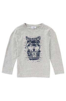 T-shirt à manches longues en coton imprimé: «J25846», Gris chiné