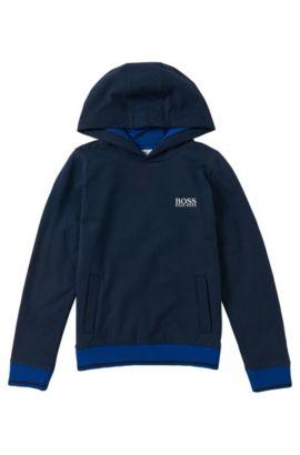 Sweat pour enfants à capuche, en coton mélangé extensible: «J25888», Bleu foncé