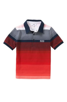 Polo en coton à rayures pour enfants: «J25916», Rouge