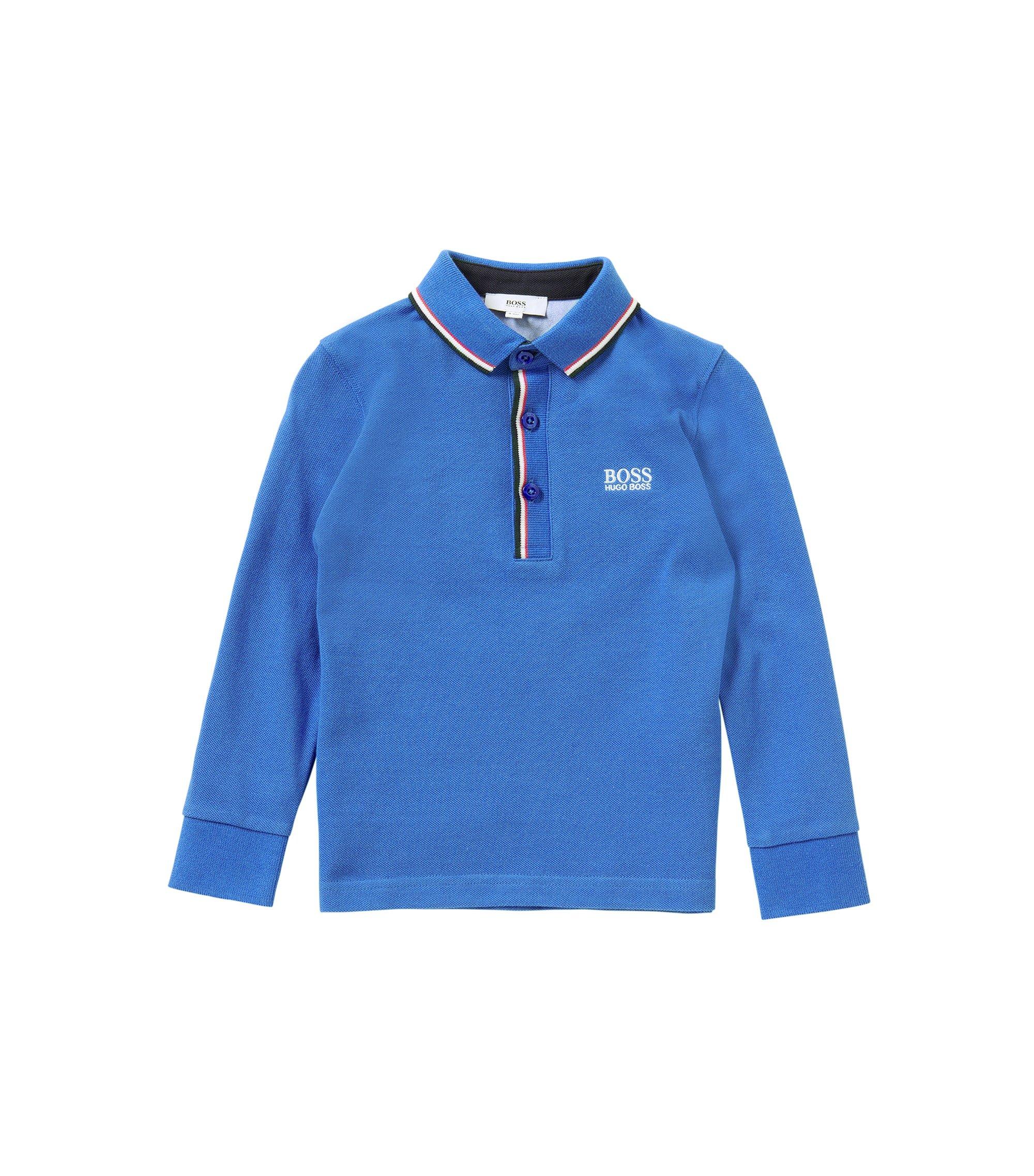 Unifarbenes Kids-Longsleeve-Poloshirt aus Baumwolle: 'J25925', Blau