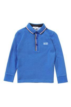 Polo pour enfant à manches longues en coton uni: «J25925», Bleu