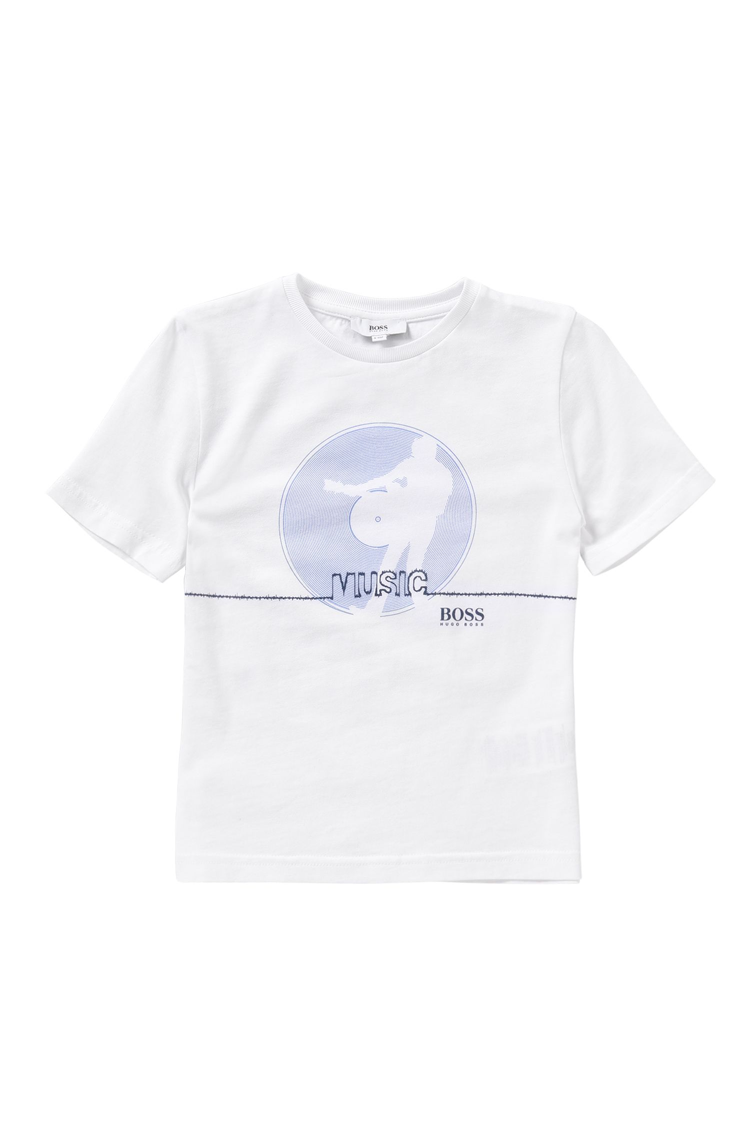 T-shirt da bambino in puro cotone con stampa frontale: 'J25931'