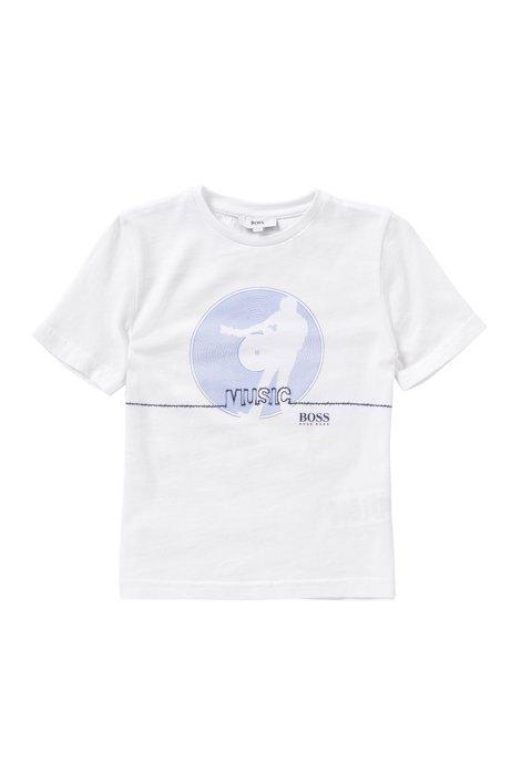 T-shirt voor kinderen, van zuivere katoen met frontprint: 'J25931', Wit