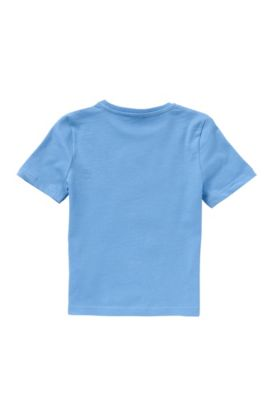 T-shirt pour enfant à rayures et motif palmiers imprimé: «J25934», Bleu vif