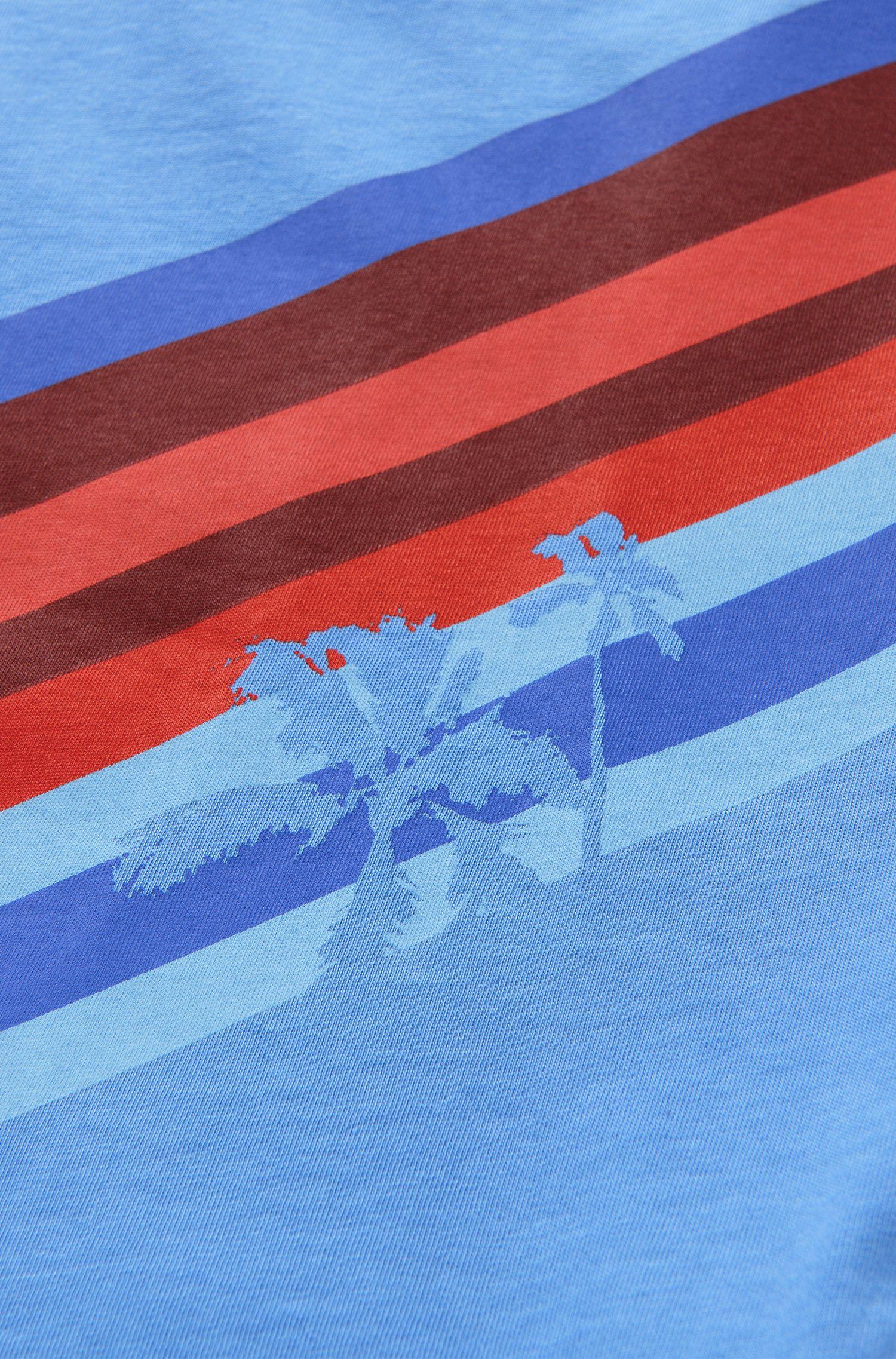 T-shirt pour enfant à rayures et motif palmiers imprimé: «J25934»