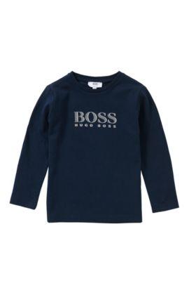 T-shirt à manches longues Slim Fit pour enfant en coton: «J25942», Bleu foncé