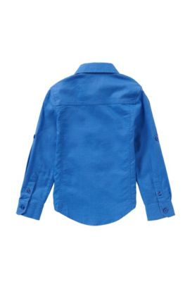 Slim-fit kids' shirt in a cotton blend with a jeans look: 'J25949', Blue