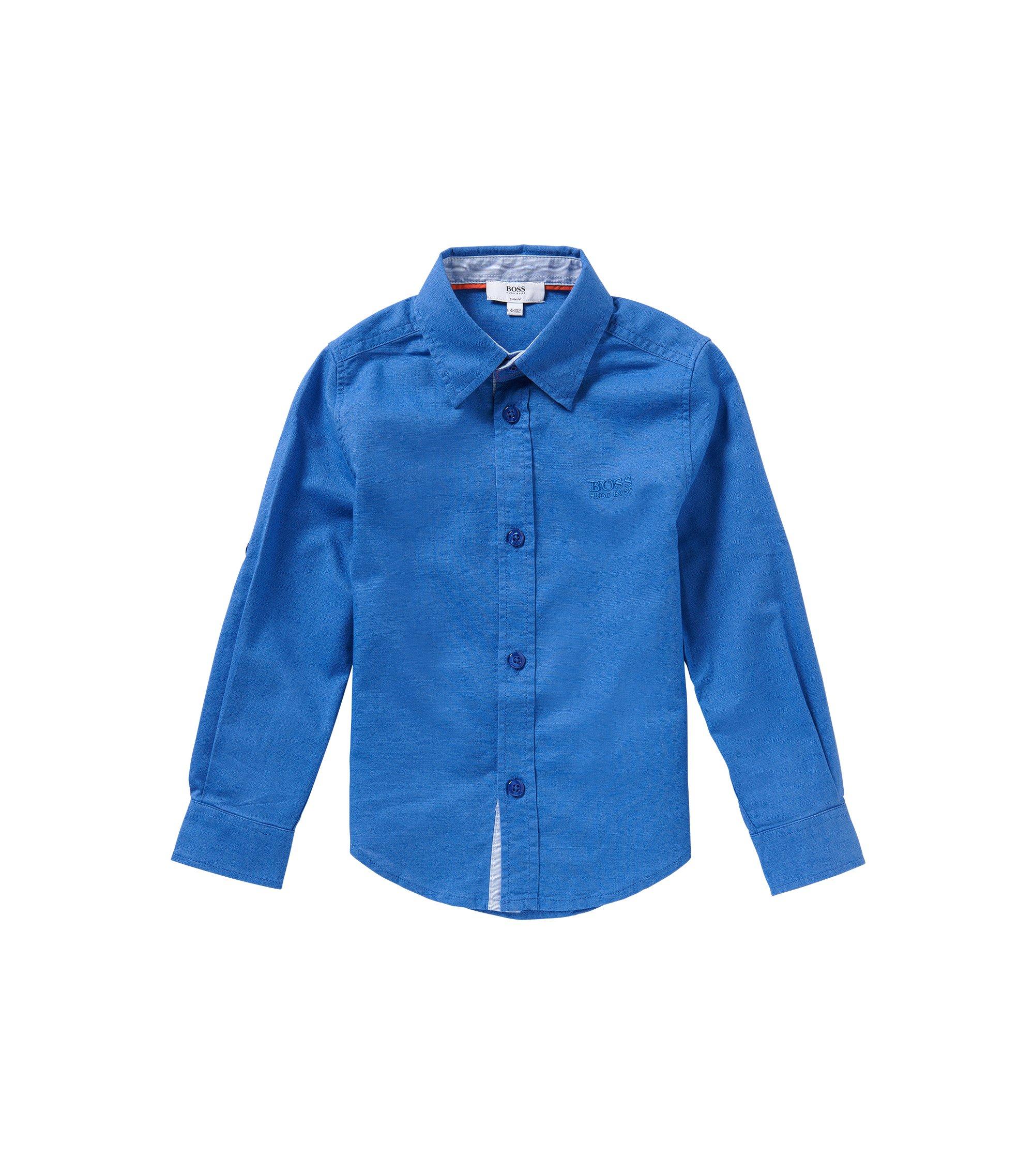Slim-Fit Kids-Hemd aus Baumwoll-Mix mit Leinen: 'J25949', Blau