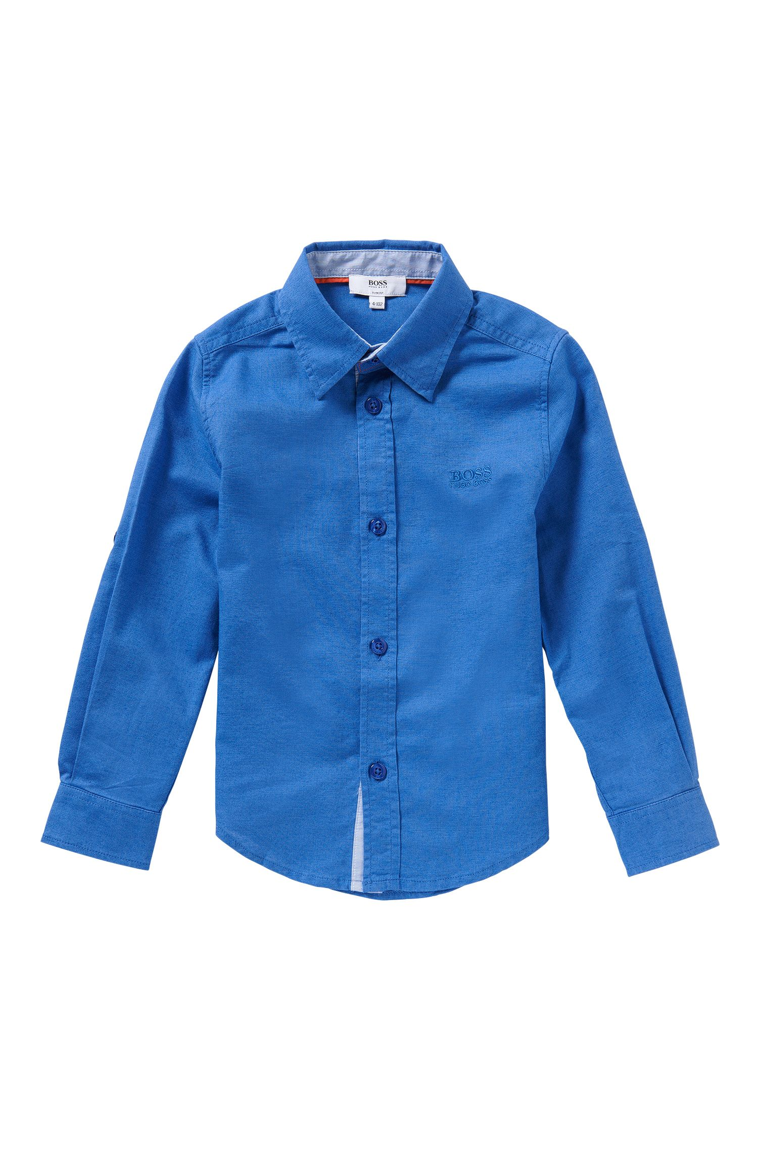 Slim-fit kids' shirt in a cotton blend with a jeans look: 'J25949'