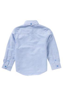 Gestreept kinderoverhemd van katoen met borstzak: 'J25950', Lichtblauw