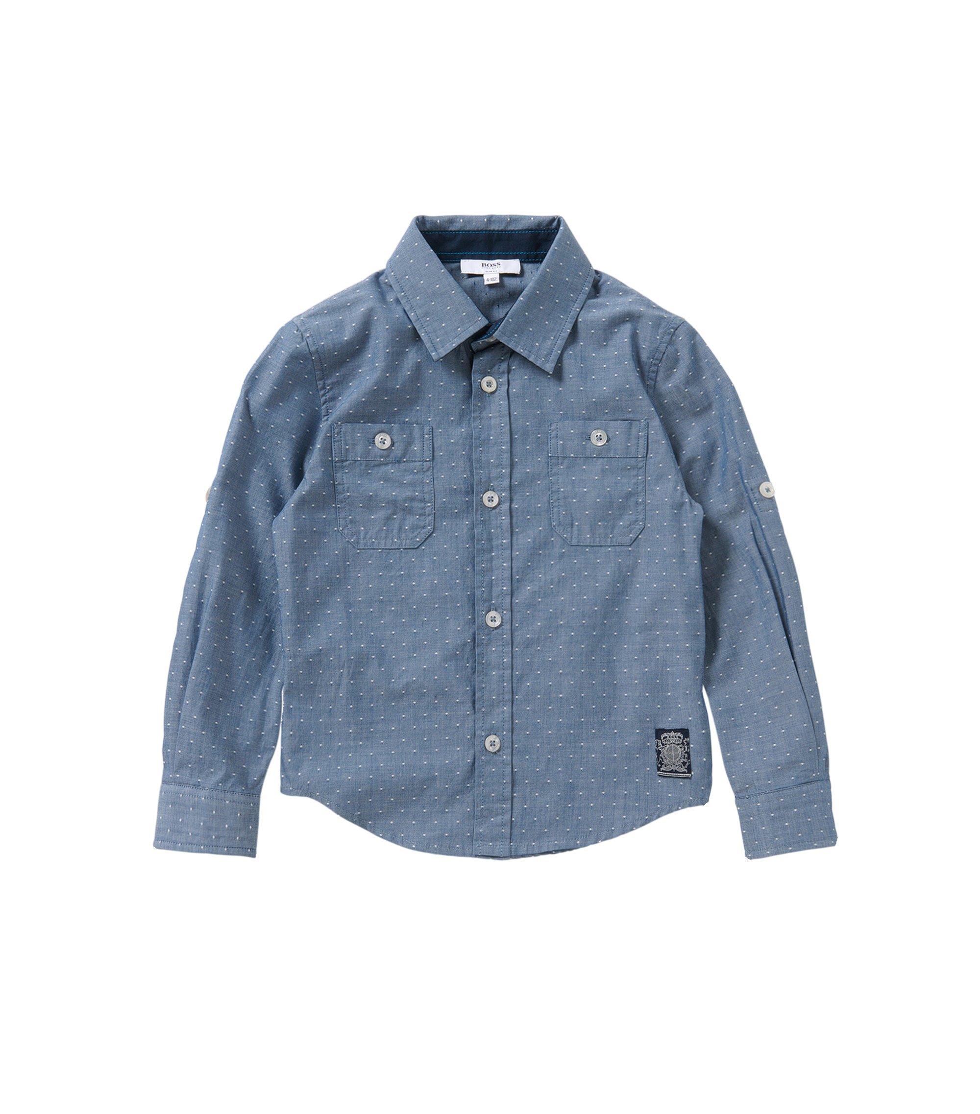 Gepunktetes Slim-Fit Hemd aus reiner Baumwolle: 'J25951', Gemustert