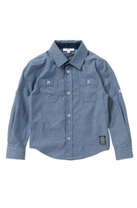 Chemise Slim Fit à pois en pur coton: «J25951», Fantaisie