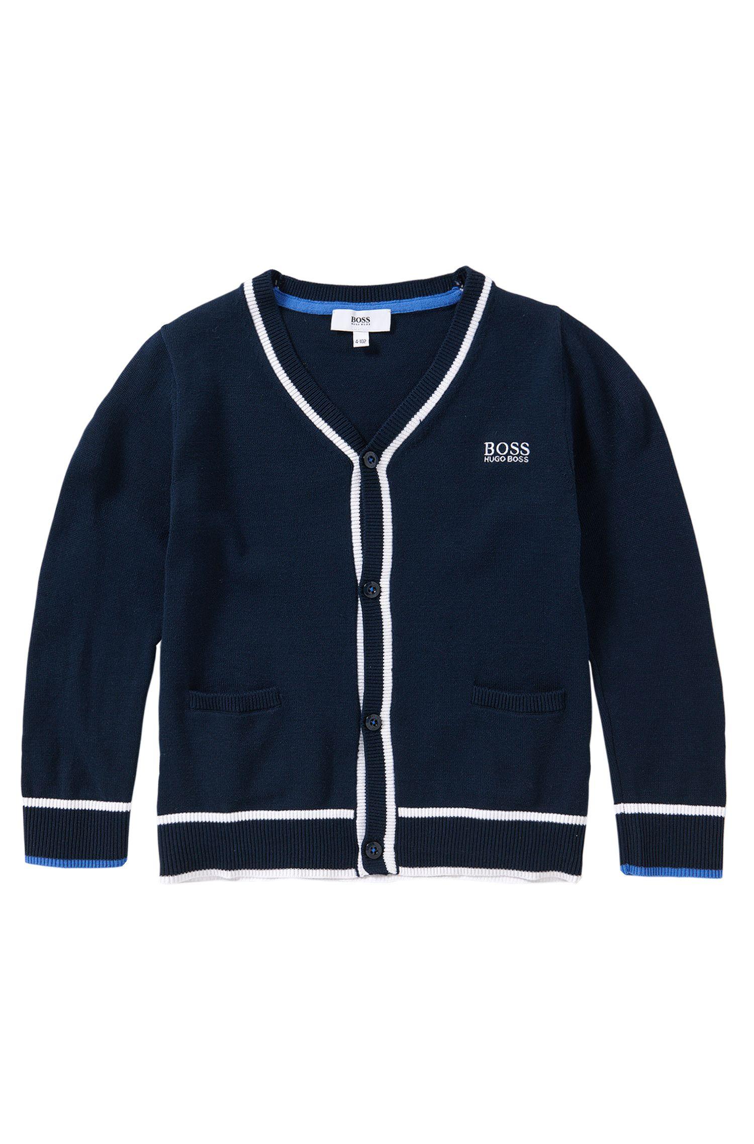 Gestreifte Kids-Strickjacke aus reiner Baumwolle: 'J25958'