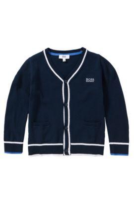 Veste en maille pour enfants à rayures, en pur coton: «J25958», Bleu foncé