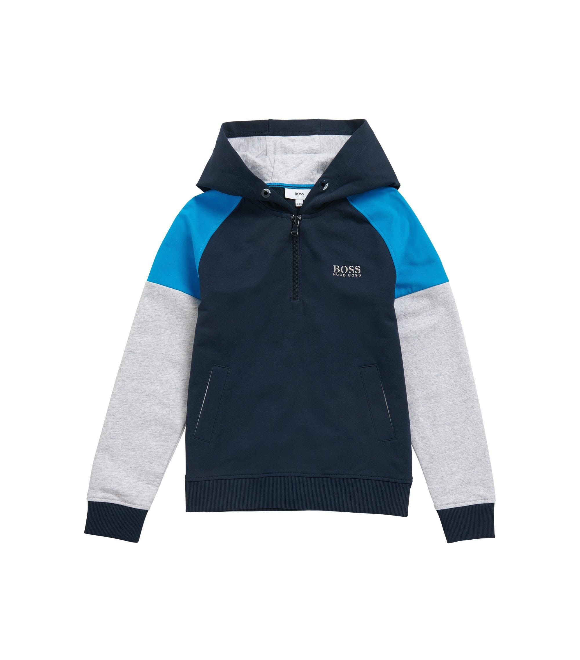 Kids-Sweatshirt aus Stretch-Baumwolle mit Kapuze: 'J25961', Dunkelblau