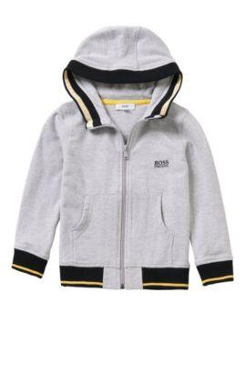 Giubbotto in felpa da bambino in cotone elasticizzato con cappuccio: 'J25962', Grigio chiaro
