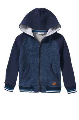 Kids' hooded sweatshirt jacket in cotton with slash pockets: 'J25963', Dark Blue