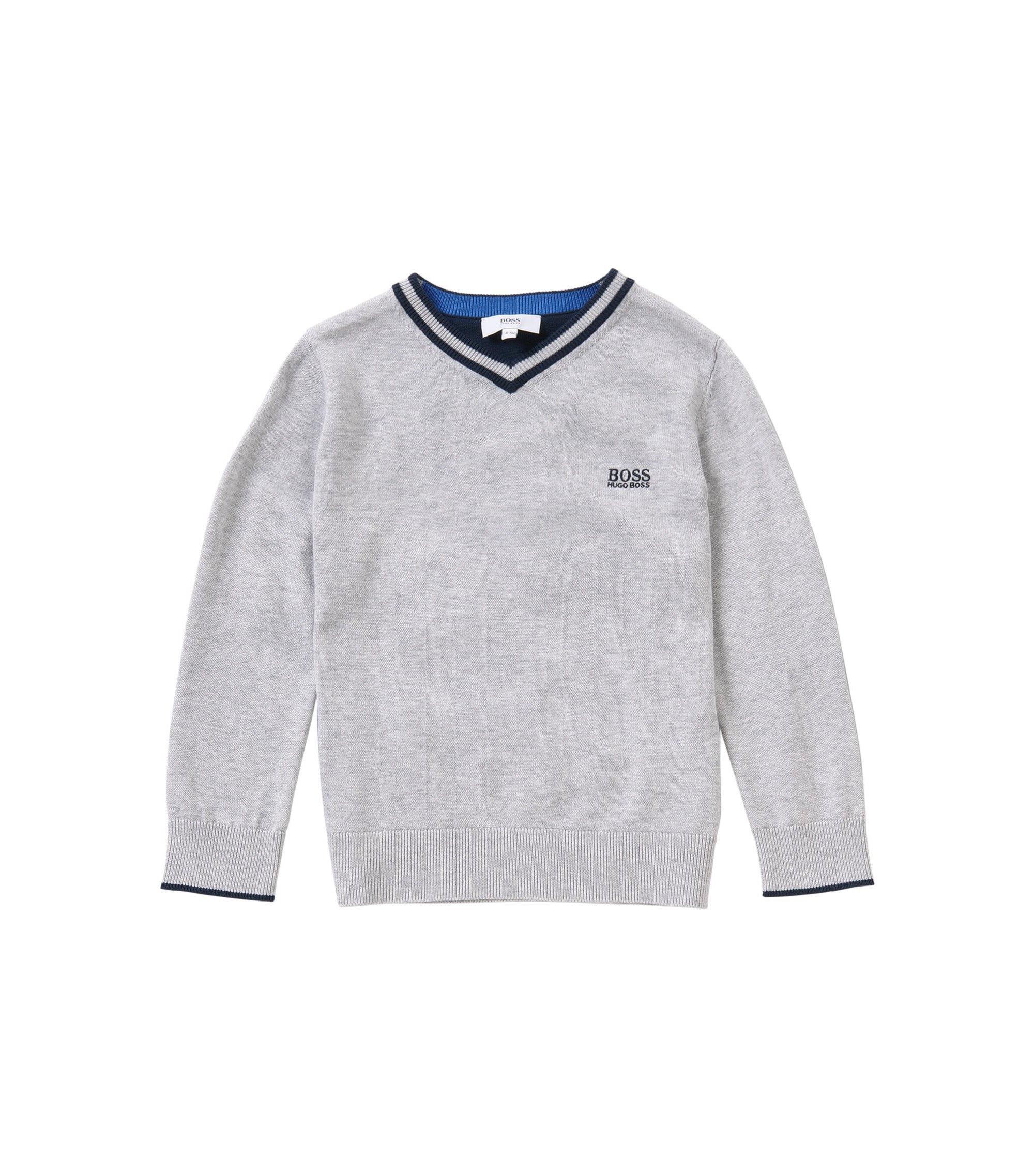 Melierter Kids-Pullover aus Baumwolle: 'J25967', Hellgrau