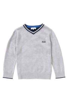 Pull pour enfant chiné en coton: «J25967», Gris chiné