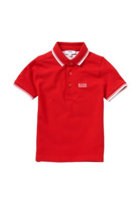 Slim-Fit Kids-Poloshirt aus Stretch-Baumwolle: 'J25968', Rot
