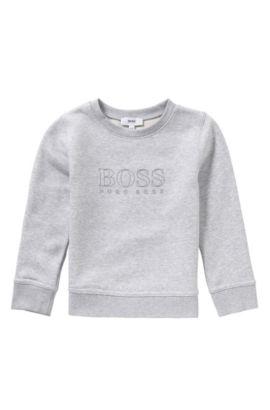 Kids-Sweatshirt aus Baumwoll-Mix mit gummiertem Logo-Print: 'J25971', Hellgrau