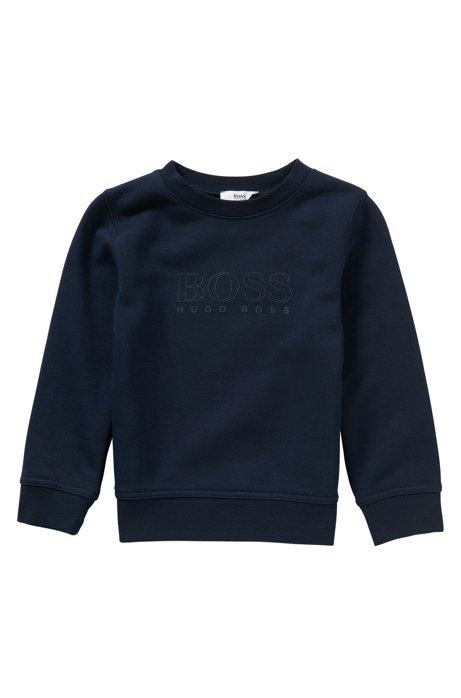 Sweat pour enfant en coton mélangé à logo imprimé gommé: «J25971», Bleu foncé
