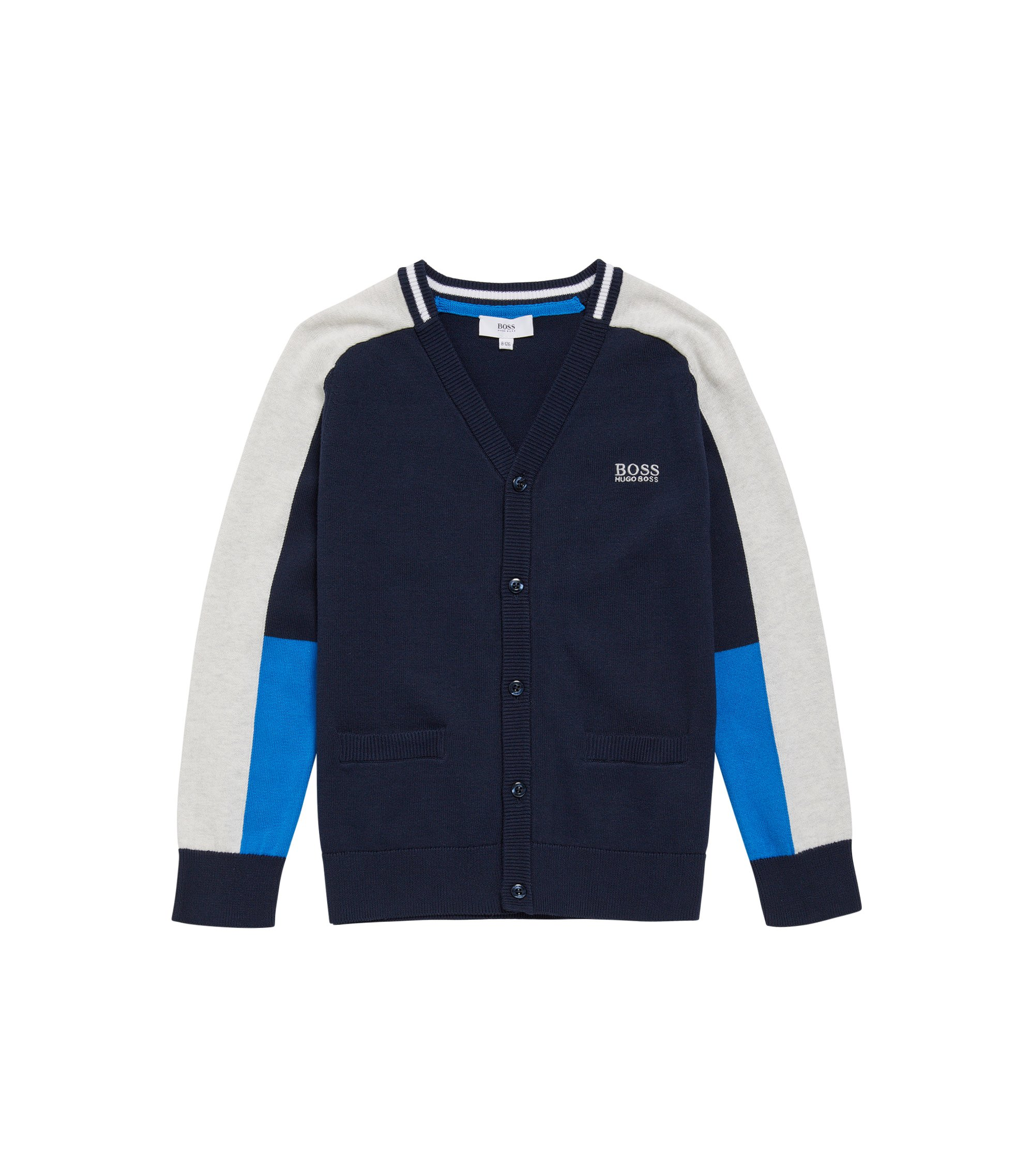 Kids' cardigan in cotton with front pockets: 'J25975', Dark Blue