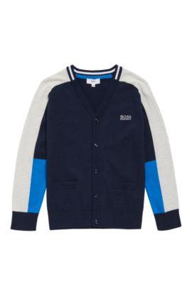 Cardigan pour enfant en coton, doté d'une poche frontale: «J25975», Bleu foncé