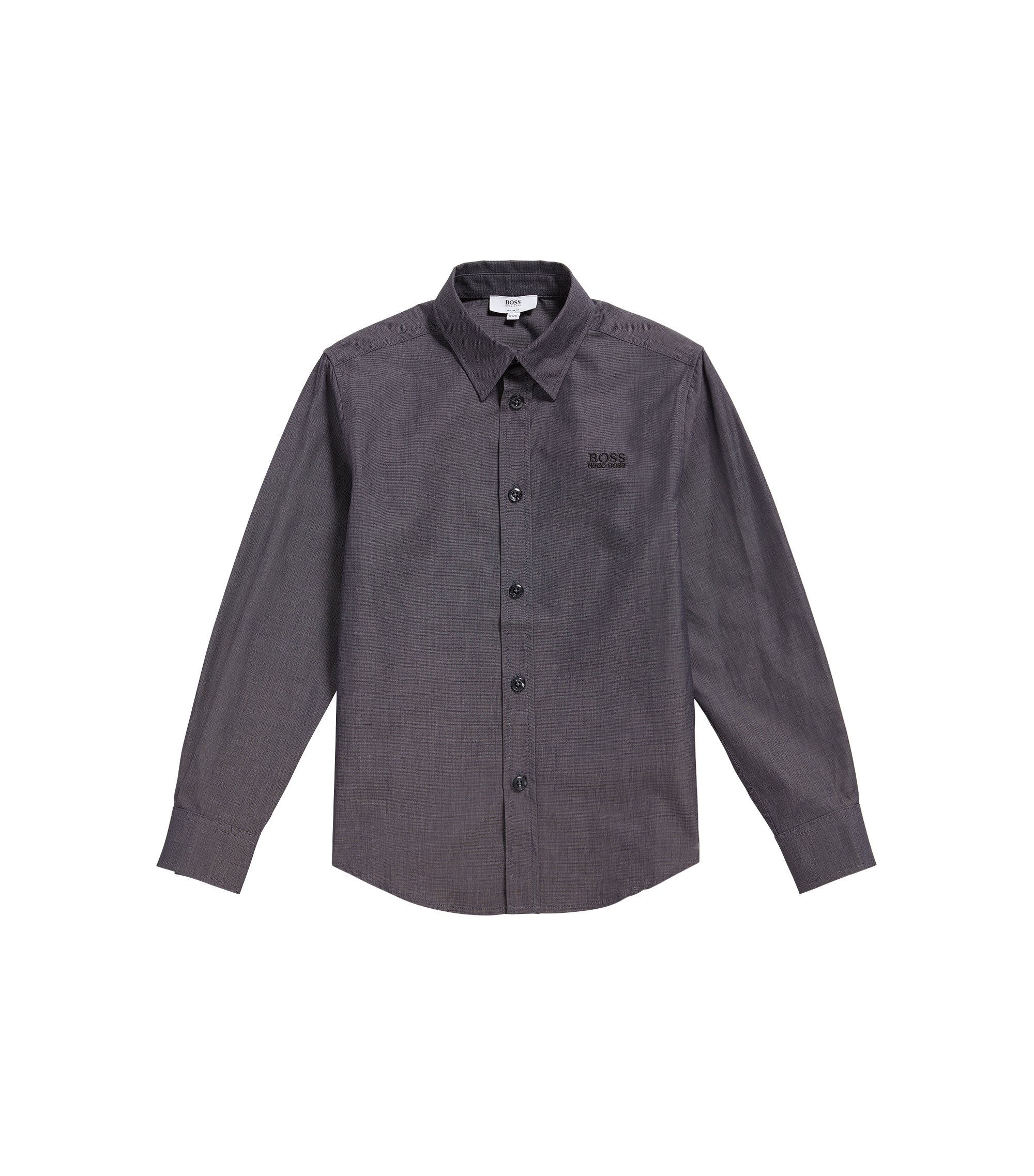 Kids' shirt in lightly textured cotton: 'J25977', Black