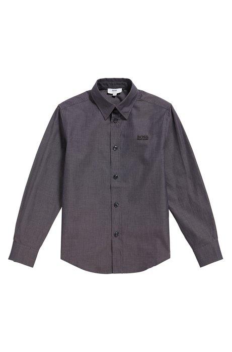 Camicia da bambino in cotone leggermente strutturato: 'J25977', Nero