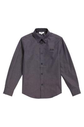 Kinderoverhemd van fijngestructureerde katoen: 'J25977', Zwart