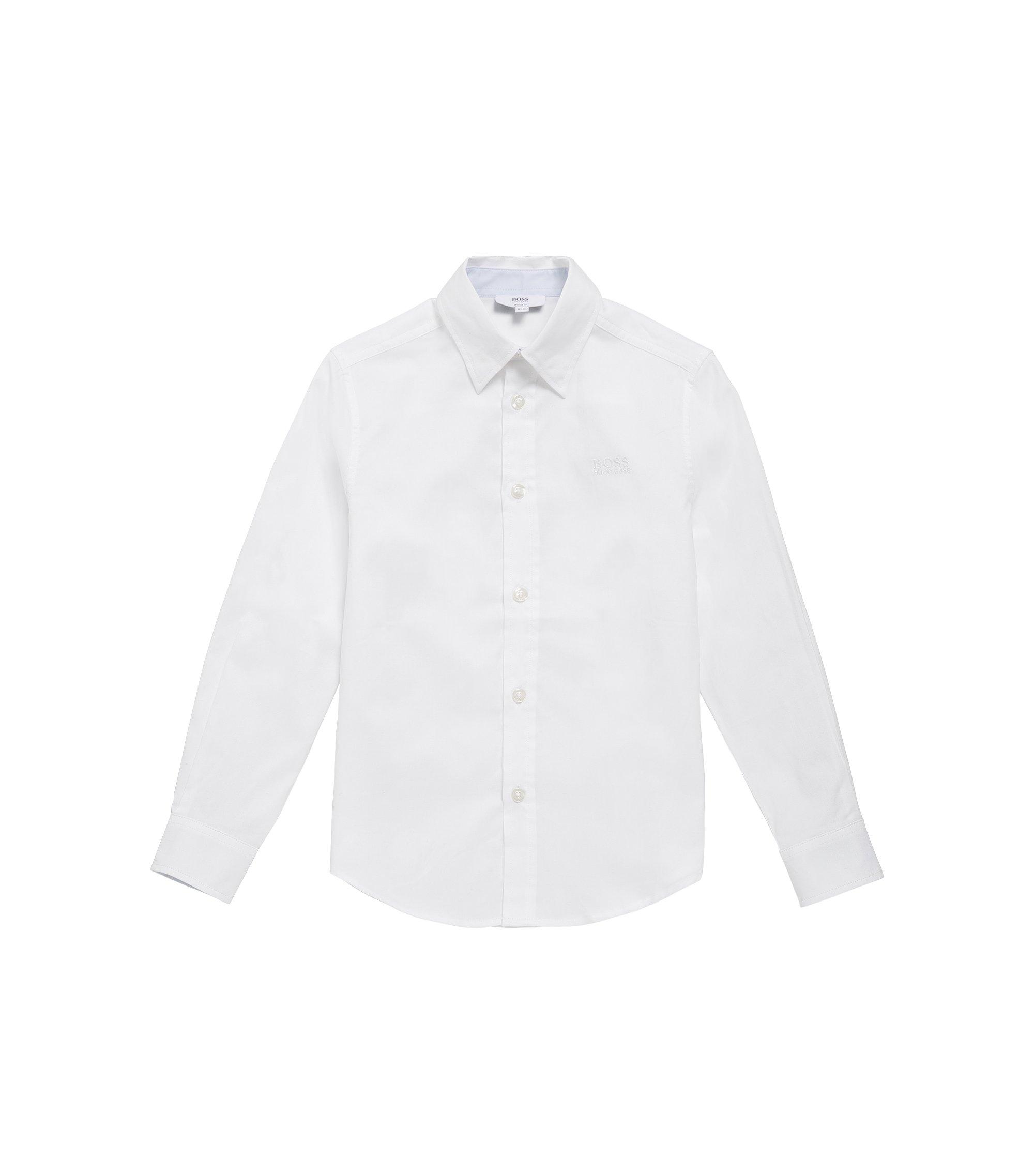 Camicia da bambino in cotone leggermente strutturato: 'J25977', Bianco