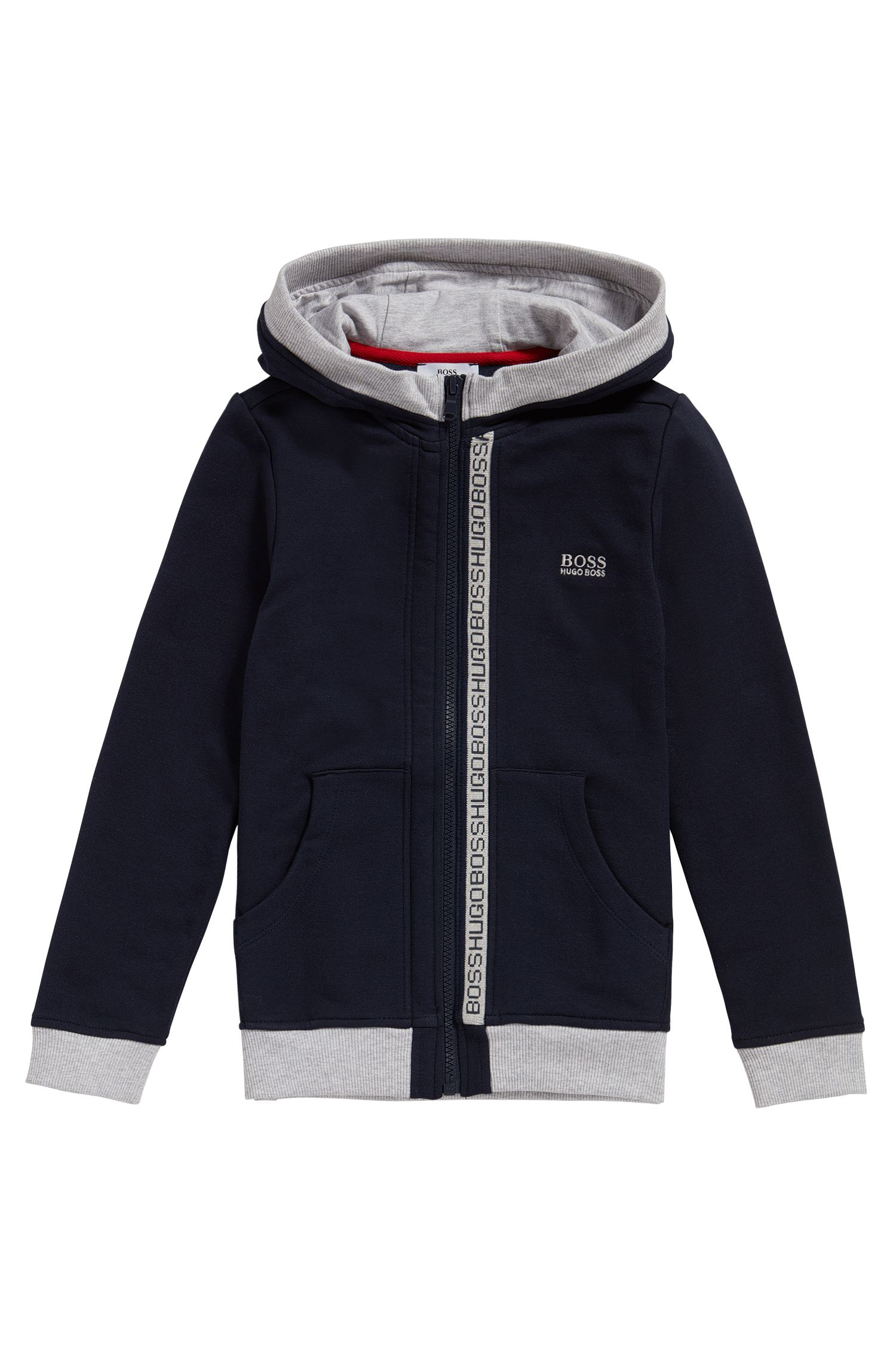 Kids' hooded sweatshirt jacket in stretch cotton: 'J25978'