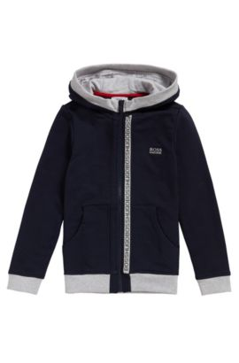 Kids' hooded sweatshirt jacket in stretch cotton: 'J25978', Dark Blue