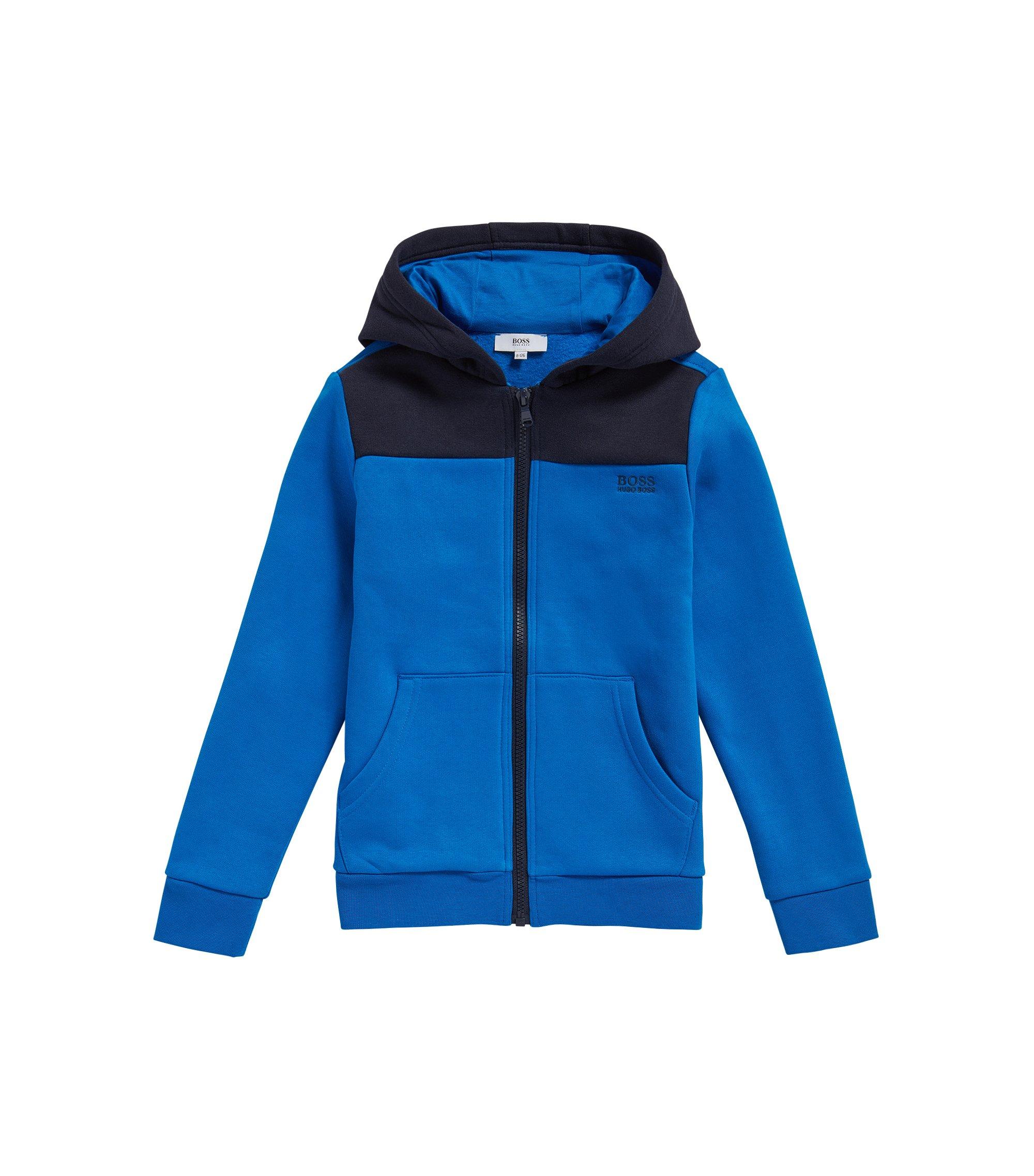 Blouson molletonné pour enfant en coton mélangé, à capuche: «J25979», Bleu