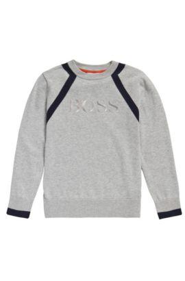Kids-Pullover aus Baumwolle in Melange-Optik: 'J25982', Hellgrau
