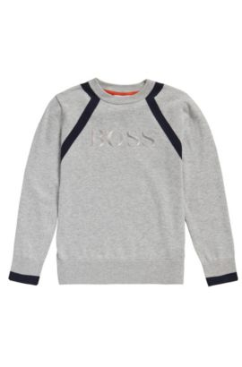 Kids' cotton sweater in melange look: 'J25982', Light Grey