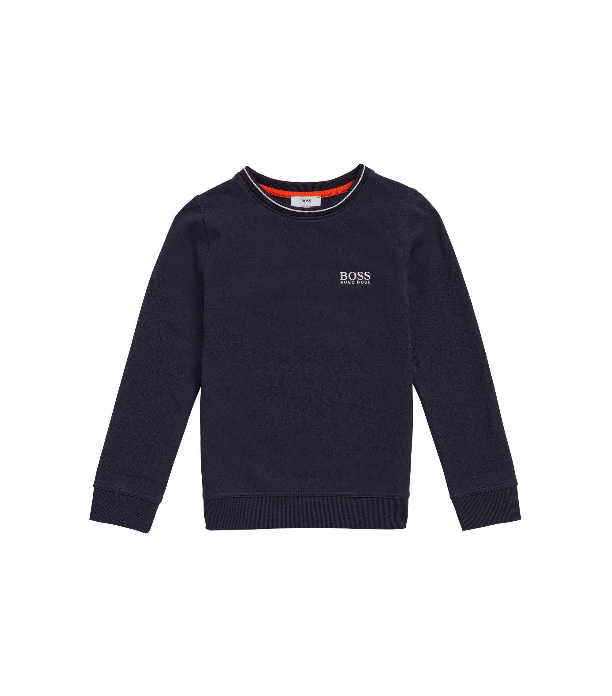 Kindersweatshirt van katoen met logostiksel: 'J25985', Donkerblauw