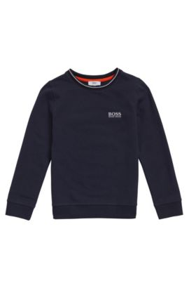 Kids' cotton sweatshirt with embroidered logo: 'J25985', Dark Blue