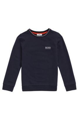 Sweat pour enfant en coton à logo brodé: «J25985», Bleu foncé