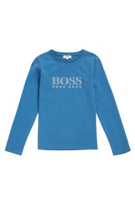 Kids' long-sleeved printed shirt in cotton: 'J25986', Blue