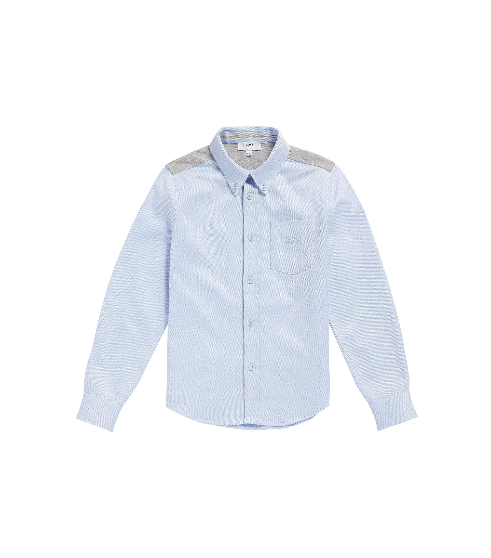 Camicia da bambino in cotone con inserti in jersey: 'J25990', Celeste